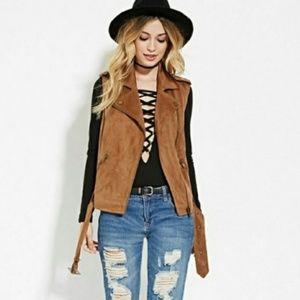 Faux Suede Vest with Belt from Forever 21